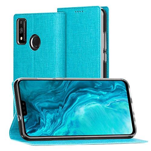 Foluu - Funda de piel sintética para Huawei Honor 9X Lite, con función atril y cierre magnético de poliuretano termoplástico (TPU), color azul