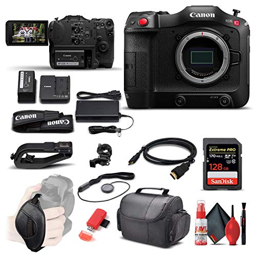 Canon EOS C70 Cinema Camera (RF Lens Mount) (4507C002) + 128GB Extreme Pro SD Card + HDMI Cable + Case + Card Reader + Cleaning Set + Cap Keeper + Hand Strap (Renewed)