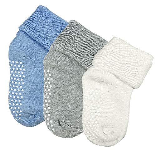 Dokpav Dokpav Kinder Baby Socken Rutschfest 3er-pack Anti Rutsch Socken aus Baumwolle für Baby Mädchen und jungen Soft Warm,Medium, Blau/Grau/Weiß