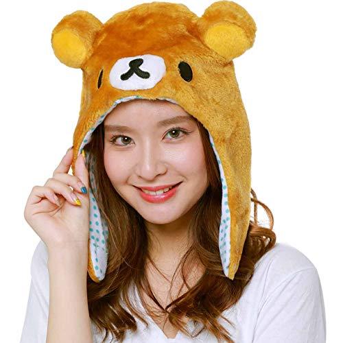 San-X Rilakkuma Animel Beanie Fluffy Beanie Cap Soft Warm Winter Head wear (Rilakkuma-Brown)