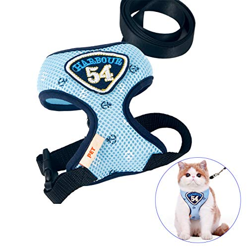 Myuilor Pet Adjustable Mesh Harness with Leash for Cats, Puppy and Small Dogs - Medium Size