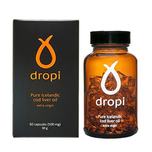 fish liver oils Dropi Cod Liver Oil 2000mg - Omega 3 - Extra Virgin - 60 Capsules