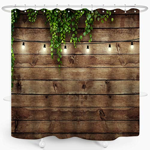 ZXMBF Rustic Wooden Board Shower Curtain Green Leaves on Vintage Wood Country Life Theme Grunge Planks Barn House Door Waterproof Fabric Bathroom Decor 72x72 Inch Plastic Hooks 12PCS Wood Board