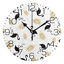 Promini Black Flamingo Gold Palm Leaves Wooden Wall Clock 15Inch Silent Battery Operated Non Ticking Wall Clock Vintage Wall Decor for Kitchen, Living Room, Bedroom, School, or Office