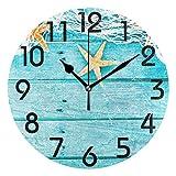 luckY—zm Large Arabic Digital Quartz Movement Clock-Nautical Starfish Fishing Net on Turquoise Board Round Wall Clock, Battery Operated Quartz Analog Quiet Desk C-size9in