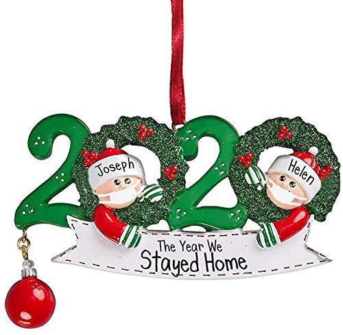 YiMoo Weihnachtsbaumschmuck, 2020 Quarantäne Survivor Familie, personalisiertes Weihnachtsdekorationsset, kreatives Geschenk (B: Familie von 2)