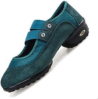 3d9a5067 T.T-Q Zapatillas de Baile para Mujer Zapatillas Modernas de Gamuza Tacón  Plano Principiante Negro