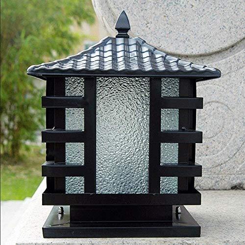 DULG Chinese Outdoor Door Post Column Lamp Rainproof Villa Hammering Glass Stigma Lantern E27 Villa Garden Patio Pillar Post Lamp Decor Illumination Street Landscape External Walkways Pedestal Light