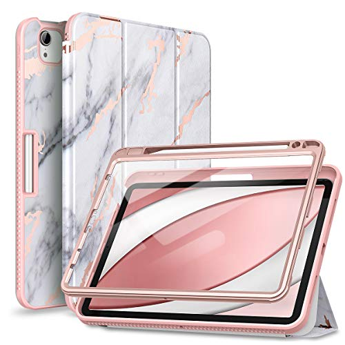 SURITCH Case for iPad Air 4th Generation 10.9 inch/iPad Pro 11 inch 2018 & 2020 Built-in Screen Protector Pencil Holder and Auto Wake/Sleep Leather Full Boday Trifold for iPad Air 4 (Marble Gold)