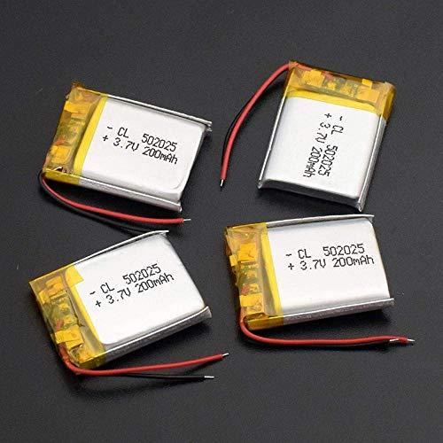 Batería Recargable de polímero de Litio 3,7 v 200 Mah 502025 para Reloj Inteligente PSP Lámparas LED Altavoces Bluetooth Mini cámaras 2 Piezas-4 Piezas