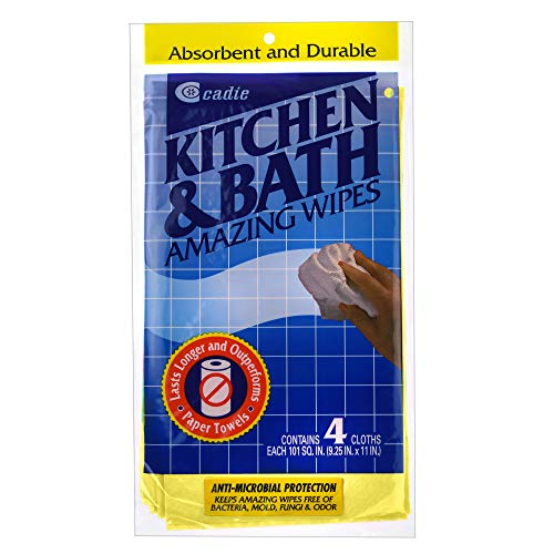 Kitchen and Bath Amazing Wipes - Absorbent and Reusable Cloth for Washing, Drying, Wiping in the Bathroom or Cuisine Surfaces   Cleaning Sink, Tiles, Bathtub, Walls, Mirror or Floors   3-Pack by Cadie