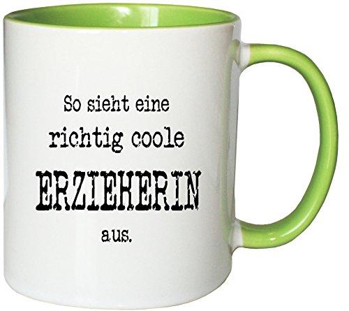Mister Merchandise Kaffeetasse So Sieht eine richtig Coole Erzieherin aus. Teetasse Becher, Farbe: Weiß-Grün