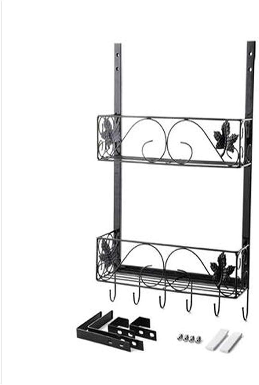 WAN SAN QIAN- Shelf Modern Simple Walls Creative Multifunctional Fridge Wall Pendant Two-Shelf Kitchen Door Rear Shelf 37  11  57.5cm Shelf (color   Black)