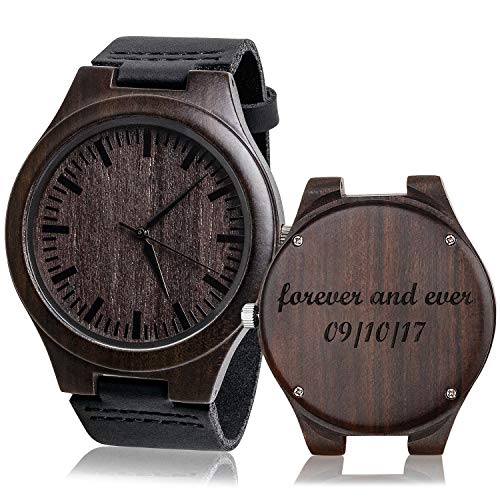 kullder Engraved Watch for Men Fathers Day Gift Christmas Gifts for Men Watch Personalized Watch with Black Strap
