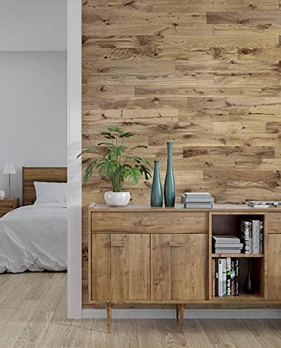 wodewa Wandverkleidung Holz selbstklebend 3D Eiche Rustikal 1m² Wandpaneele Moderne Wanddekoration Holzverkleidung Holzwand Wohnzimmer Küche Schlafzimmer geölt