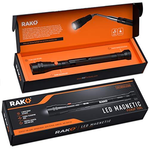RAK Magnetic Pickup Tool with LED Lights - Telescoping Magnet Pick Up Gadget Tool for Men, DIY Handyman, Father/Dad, Husband, Boyfriend, Him, Women