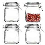 Kingrol 4 Pack 34 Ounces Glass Jars, Wide Mouth Storage Canister Jars with Bail and Trigger Clamp Lids for Pickling, Preserving, Canning, Dry Food Storage