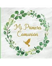 Libro de recuerdos de comunión: Libro de visitas de comunión un regalo de primera comunión para niñas creyentes en el hermoso diseño de la paloma de la paz y el santo rosario