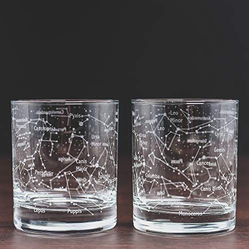 Product Image 3: Greenline Goods Whiskey Glasses – Northern Summer Sky & Constellations (Set of 2) – Etched 10 Oz Tumbler Gift Set – Old Fashioned Rocks Whiskey Glass
