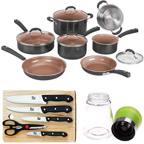 Cuisinart 11pc Ceramica XT Non-Stick Cookware Set with Deco Gear Knife Set...