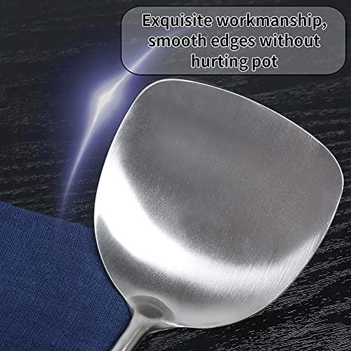 Newness Espátula para Wok, 304 Acero Inoxidable Espátula de Cocina Turner Espátula con Mango de Madera Resistente al Calor, 38.9 cm