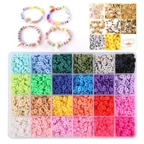 Mini cuentas de rosca, cuentas de cerámica blanda, cuentas artesanales joyas, pulseras, collares DIY, regalos con cuentas a mano, aptos para niños o amigos, 24 colores