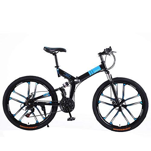 Bicicleta De Montaña Plegable De 26 Pulgadas Ciclismo De Carretera Bicicleta De Montaña con Amortiguador Delantero Y Trasero Bicicleta De Transmisión De 21-30 Velocidades