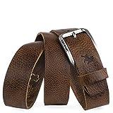 Lois - Cinturón de Cuero Piel Genuina de Hombre Flexible y Duradero Ancho 40 mm Talla Ajustable 501013, Color Cuero