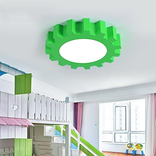 William 337 La lampe pendante de vitesse de l'enfant / lampe de plafond de chambre à coucher de garçon, lampe pendante La lampe créative de bande dessinée de classe à la maison de double usage ( Couleur : Vert-40 cm )