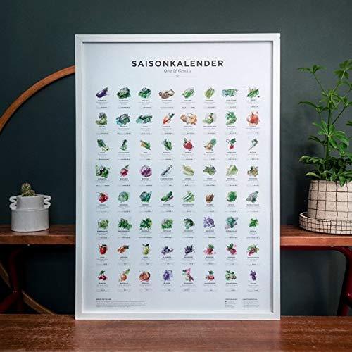 Saisonkalender für Obst & Gemüse in Farbe (Format A2, Poster, Plakat, Kalender)