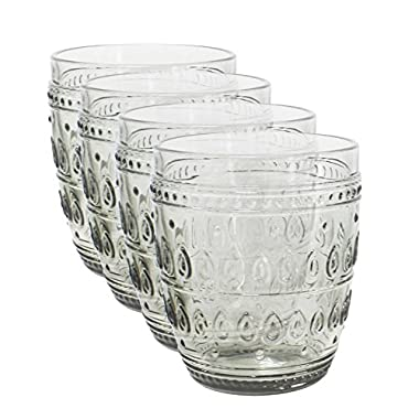 Euro Ceramica Fez Glassware Collection Old Fashion Glasses, 12oz, Set of 4, Gray