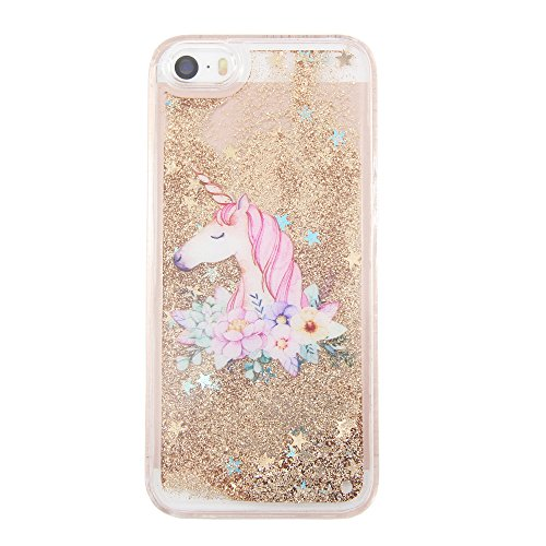 uCOLOR iPhone 5S Case,iPhone 5 Case, iPhone SE 1st(2016) Case Gold Glitter Floral Unicorn Waterfall Hard Cover Clear Case for iPhone SE/5S/5