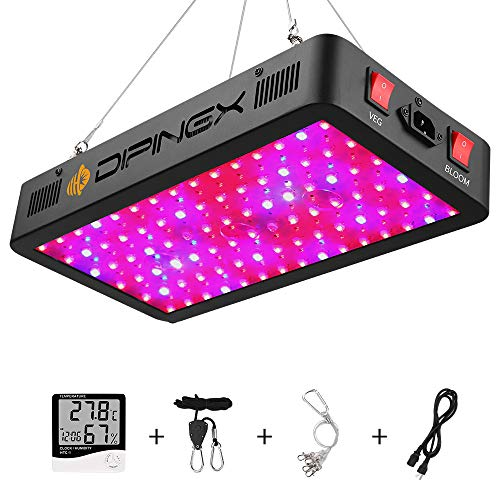 DIPINGX Upgraded Full Spectrum 900W Led Grow Light Veg&Bloom Double Switch Led Growing Lamp for Greenhouse Indoor Plant Veg and Flower(Dual-Chip 10W LEDs 90Pcs) (900W)
