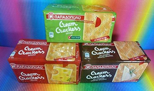 Greece papad opou los 3Packs Variety Wheat & Rye Cream Crackers X 175g, Fresh