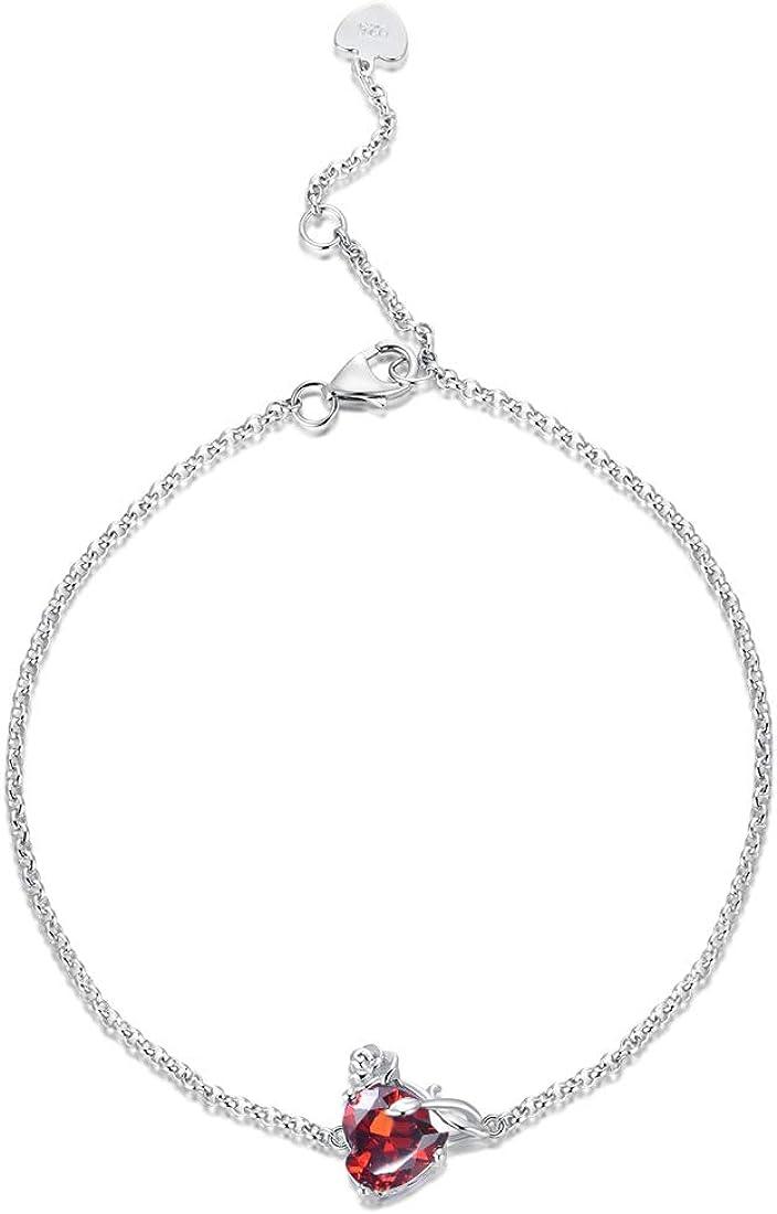 HAOSG 925 Sterling Direct store Sliver Rose Bracelet Birthstone Love Heart store