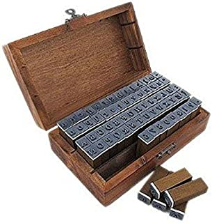 PIXNOR 70Pcs Alphabet Letters Number Symbol Rubber Stamps Seals With Wooden Box Case