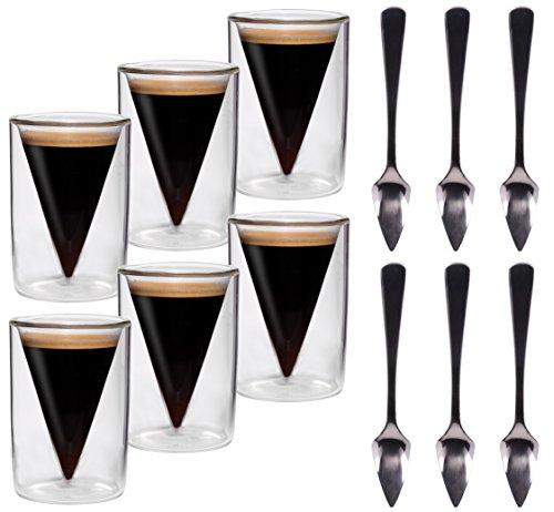 6x 70ml doppelwandige Spitzgläser + 6x Spitzlöffel / 6er-Set 70ml Espresso- und Schnapsgläser im Spitzglasdesign mit Schwebe-Effekt + 6er-Set
