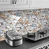 EPEXNYGD 48 Piezas 10x20cm Azulejos de Piedra Efecto de ladrillo Papel Tapiz para Azulejos Etiqueta Adhesiva para pelar y Pegar Calcomanías Papel de Contacto Hogar Sala de Estar Dormitorio 33