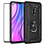 FLYME for Xiaomi Redmi 9 Case with Tempered Glass Screen Protector, Heavy Duty Dual Layer Shockproof Rugged Non-Slip Scratch-Resistant Cover,Black