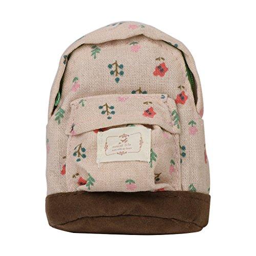SimpleLife Mini Rucksack Stil Schlüsselanhänger Münze Geldbeutel Kartentasche Blume Münztüte Brieftasche