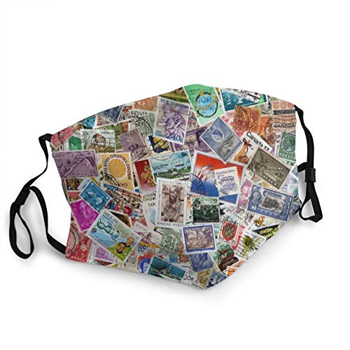 Adult Kids Cloth Face Mask Vintage World Postage Stamps Travel Hobby Theme Art Colorful Aniti-Dust Adjustable Face Covering Breathable Nose Mouth Shield for Men Women Black