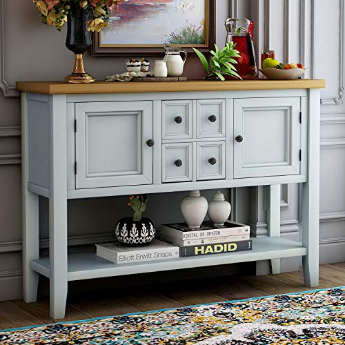 LZ LEISURE ZONE Buffet Sideboard Retro Style Wood Console Table with Bottom Shelf, Storage Cabinet & Drawers for Living Room/Kitche/Entryway (Lime White)