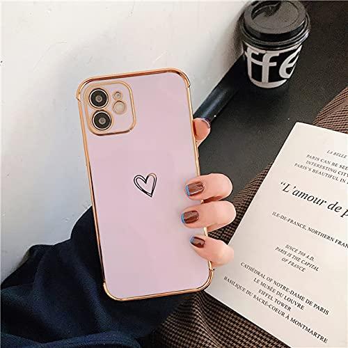 LIUYAWEI Estuche para teléfono de Parachoques galvanizado para iPhone 12 11 Pro MAX XR X XS MAX 7 8 Plus SE 2020 Love Heart Soft TPU Funda Trasera a Prueba de Golpes, Morado, para iPhone 12