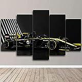 TTTRR Impresión En Lienzo Coche de carreras de Fórmula 1 Renault F1 5 Piezas Cuadro sobre Lienzo, Modernos Grandes Arte Decoracion Salon Dormitorios Mural Pared Listo para Colgar 150*80 Cm