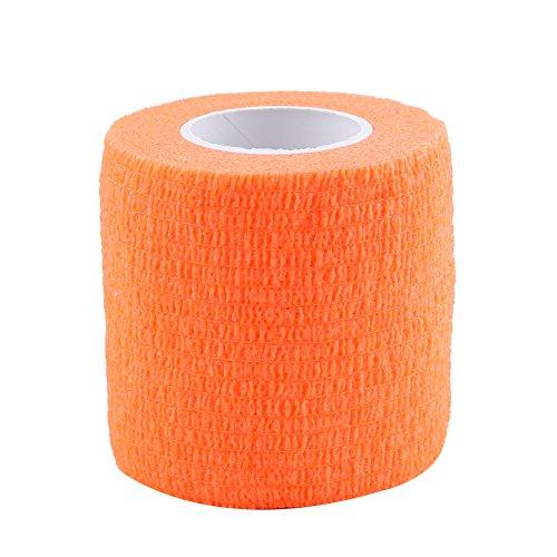 5 Rollen/Set Selbstklebende Bandage Tape Wasserdichte Haftbandage selbsthaftende Rolle Stretch Athletic Tape für SprunggelenkVerstauchungen & Schwellungen (Orange)