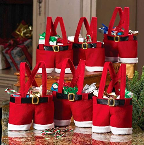 MSQ Christmas Decorations Gift Bags 6PCS Candy Bags Santa Pants Style Lovely Treat Bags Wine Bottle Bags for Children Best for Wedding Holiday New Year Holiday