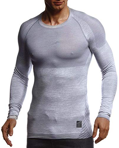 Leif Nelson Gym Herren Seamless Fitness Langarm-Shirt Funktionsshirt Slim Fit Männer Bodybuilder Trainingsshirt Sportshirt - Bekleidung für Bodybuilding Training LN8309 Grau-Reflekt Medium