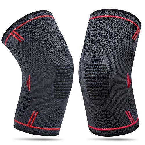 2 x Kniebandage für Damen & Männer | Zum Schutz von Meniskus & Knie | Elastische atmungsaktiv Knieschoner mit Kompression für mehr Stabilität beim Sport und im Alltag | Knieschützer (XL)