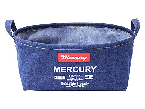MERCURY オーバルバケツ M (デニム) 折りたたみ 収納ボックス マーキュリー 整理 布 カゴ 内側 コーティング コンパクト 洗濯カゴ バスケット おしゃれ ソフト ラウンド 西海岸風 インテリア アメリカン雑貨