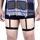 Men Shirt Stays Adjustable Elastic Shirt Garter Shirts Holder with Non-slip Locking Clamps for Police Military (Black)